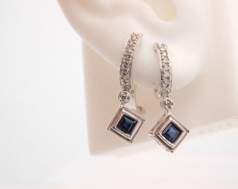 Ladies Blue Sapphire & Diamond Earrings 14K White Gold