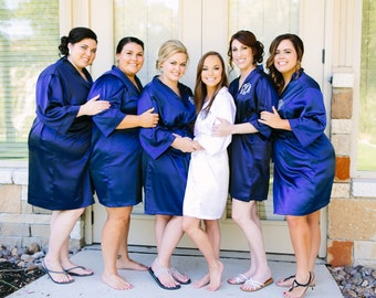 Set of 7 Above the Knee Length Satin Robes with Name on Front and Title on Back, 7 Bridesmaid Robes