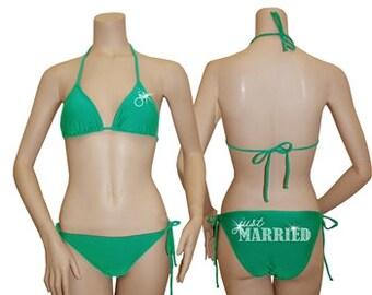 Sale Just Married Bikini, green bride swimsuit, crystal bride String Bikini, just married swim suit, just married bathing suit, bride swim