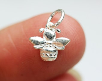 2pcs 925 Sterling Silver Jewellery findings Charm Beads , bee charm, 11*12mm, 2.8mm thick - FDSSB0410