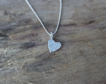 Silver Heart Necklace - Tiny Heart Necklace -  Eco Friendly Silver Heart Necklace - Dainty Heart Necklace - Love Necklace - Bridesmaid Gift