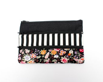 Adorable Floral Pencil case/ Makeup Bag With Three Pockets and Black Zippers 21cm x 14cm