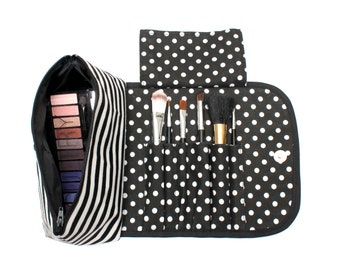 Striking Striped Makeup Bag with a Brush Holder and Magnetic Button.
