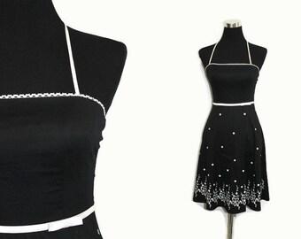 90s Dress XS / 90s Rockabilly Dress Black and White Dress /1990s Strapless  Full Skirt Junior Dresses
