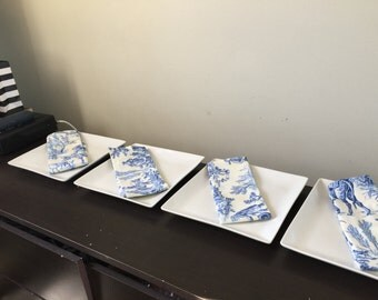 Set of 6 small or large handmade blue and white colonial table napkins. Great for your Memorial Day gathering.