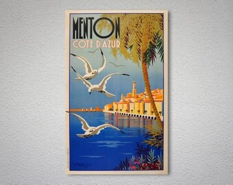 Menton Cote d'Azur, France  Vintage Travel Poster  - Poster Print, Sticker or Canvas Print / Gift Idea