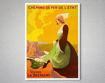 Visitez La Bretagne, Chemin de Fer de L'etat Vintage Travel Poster, 1920 -  Poster Print, Sticker or Canvas Print