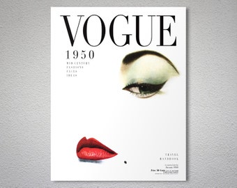 Vogue Cover January 1950 - Vogue Cover Poster - Poster Print, Sticker or Canvas Print