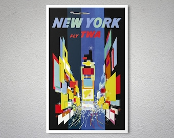 New York, Times Square  Fly TWA  Airline Travel Poster - Poster Print, Sticker or Canvas Print