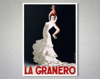 La Grenero Flamenco Dancer - Vintage Entertainment Poster  - Poster Print, Sticker or Canvas Print