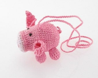 Handcrafted Amigurumi Pink Piggy Pig Car Interior Accessory