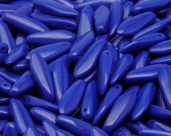 30pcs Czech Pressed Glass Dagger Beads 5x16mm Opaque Blue