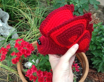Fanciful Red Butterfly Hand Crocheted Toy
