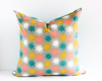 Reversible Pillow Cover | Modern Dandelion Print with Turquoise Linen Backing | Shannon Fraser Designs