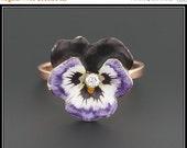 ON SALE Vintage Enamel & Diamond Pansy Ring, Purple Enamel Flower Ring, 14k Gold Top, 10k Gold Band