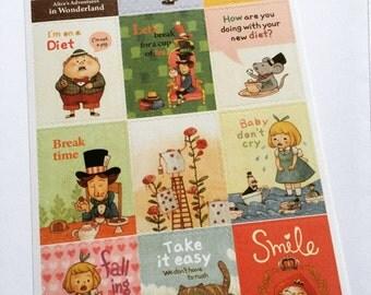 Alice In Wonderland Postage Stamp Stickers, Scrapbooking Stickers, Planner Stickers, Decorative Stickers, Card Embellishment, Alice Gift