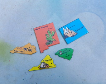80s Game /  Vintage Game Pieces / State to State Game / Kentucky / Colorado / Virginia / New Mexico / South Carolina