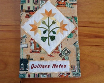 QUILTERS NOTES handmade book cover, fabric book cover, book accessories,