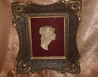 Unique!!! Framed ivorine sculpture, Baroque-Victorian, vintage