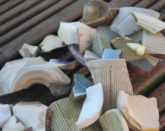 Irish Pottery Shards - vintage, rustic, historic, mosaic, aquarium, ornaments