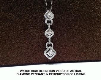 1.50 Carat Princess Cut Halo Style 3 Stone Diamond Pendant in 14K White Gold