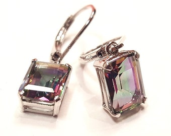 5.00 Carat Natural Rainbow Topaz Dangle Earrings in 925 Silver with 14K White Gold Finish