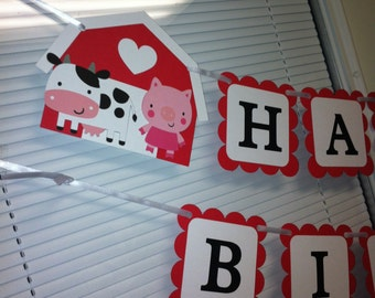 Farm Happy Birthday banner, Barn banner, Horse banner, cow banner,Farm birthday banner