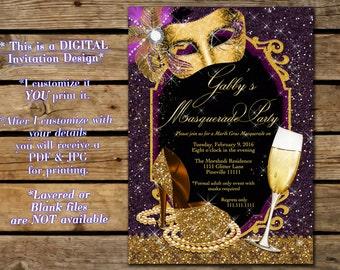 Purple and Gold Masquerade Party invitation,Gold Glitter Mardi Gras masquerade, Purple and Gold Mardi Gras Invitation, Gold Mask and Heel