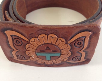 Gorgeous tooled leather belt and buckle
