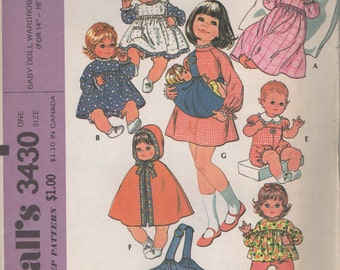 """14"""" - 16"""" Baby  Doll Wardrobe & Carrier Sewing Pattern  Carrier Nightgown, Dress, Pinafore, Rompers, Cape, Hood-   Simplicity  3430, uncut"""
