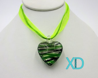 Glass and Ribbon Handcrafted Necklace, Green Heart, Glass Necklace, Handcrafted Necklace, Handmade Necklace, Pendant Necklace, Ribbon