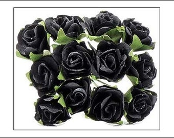Black Paper Roses, 24 stems in pack, weddings, wedding supplies, wired paper flowers, wedding decorations, UK seller