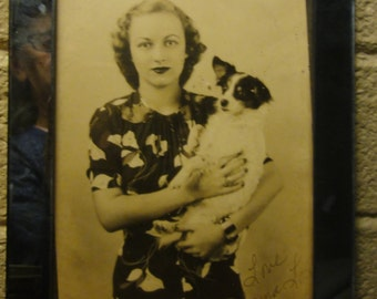 Vintage Woman Holding Cute Dog/ Original Photo/ Signed