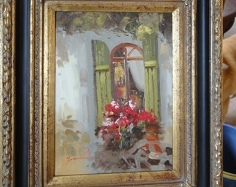 Vintage Window and Flowers Oil Painting/ Signed