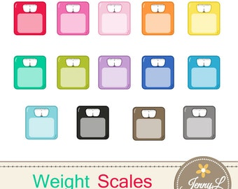 Weight Scale Clipart, Fitness Scale, Weighing Scale, Bathroom Scale for Planners, Digital Scrapbooking, Invitations, Stickers, Labels