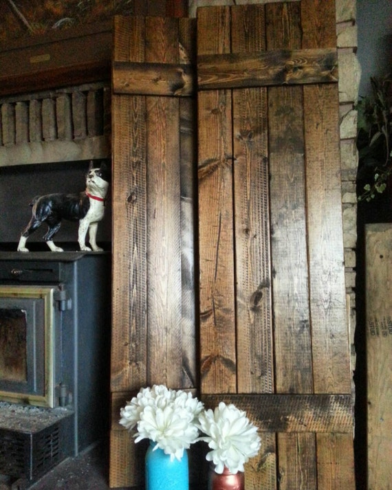 "RUSTIC wood shutters - 60"" Primitive shutters - Handmade Farmhouse Shutters - Wooden Shutters - Interior - Exterior - Wall Decor"