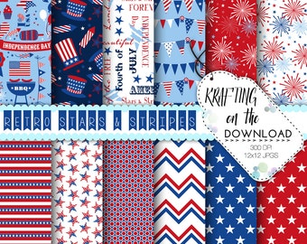 4th of july paper pack fourth of july digital papers USA stars & stripes red blue american flag digital scrapbook 4th of july digital papers