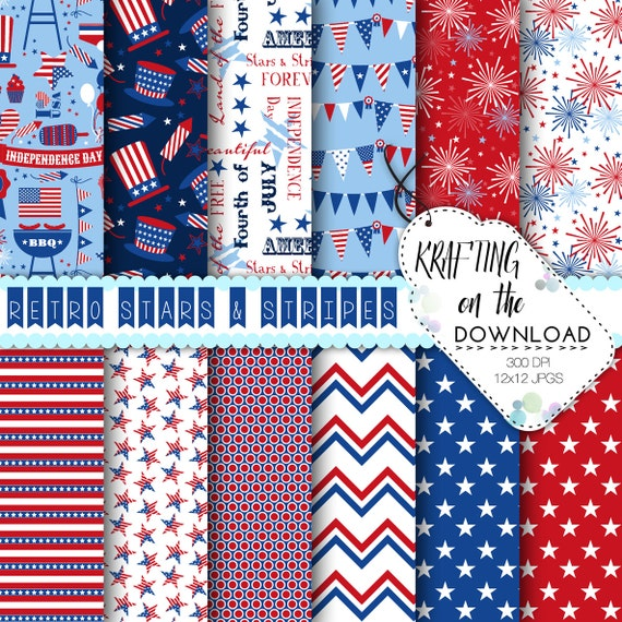 4th of July Patriotic Digital Paper Pack USA Stars & Stripes Red Blue American Flag Digital Scrapbook Craft Instant Download