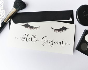 Eyelashes card, Hello gorgeous, Lashes greeting card, Makeup card, Makeup greeting card, Makeup stationery, Lashes stationery