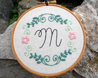 Hand Stitched Initial Embroidery, Gift for Teen Girl, Flower Embroidery Wall Art, Embroidered Letter Sing, Flower Stitch