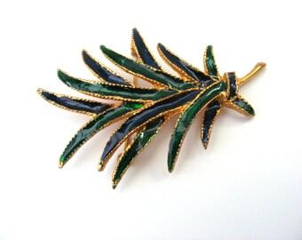 Palm tree/frond enamel brooch