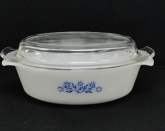 Anchor Hocking Fire King Oval Casserole Dish With Lid 1-1/2 Qt Quart Oven Ware