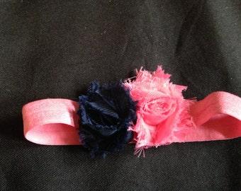 royal blue & pink flowered headband