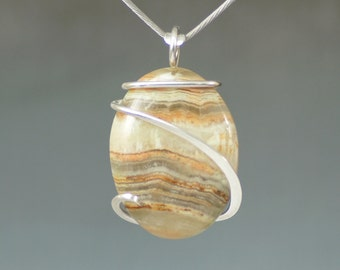 Banded Onyx Oval Cold Forged Sterling Silver Pendant