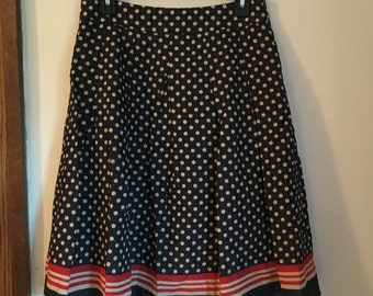 Navy and White Polka Dotted Skirt
