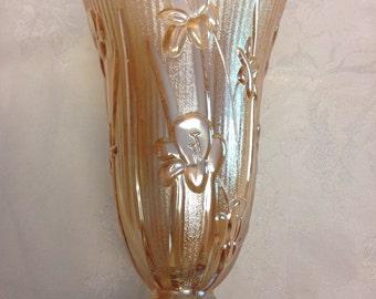 Iris and Herringbone Irridescent Vase