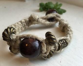 Hemp Bracelet With Earthy Beads. Hemp Jewelry. Natural.