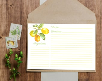 SALE 25% OFF Lemon Recipe Cards - Instant Download - 3x5 and 4x6