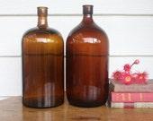 Large vintage industrial amber glass bottles PRICE PER BOTTLE