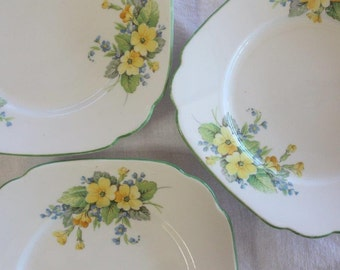 Three Roslyn bone china side plates ~ made in England ~ blue and yellow